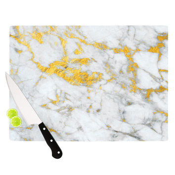 "KESS Original ""Gold Flake"" Marble Metal Cutting Board"