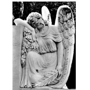 Gothic Dark Art, Quiet Repose, Cemetery Art, Virginia Fine Art Print, Victorian Angel Art, 5x7 Black and White Print, Taphophile