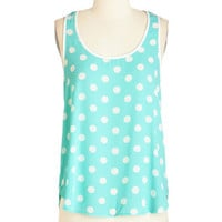 Mid-length Sleeveless I Dot as Much! Top in Aqua