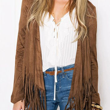 Khaki Collarless Long Sleeve Tassels Jacket