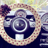 Car Steering wheel cover-Khaki Polka Dots with Chiffon Flower, Unique Automobile Accessories, Car Decor, Automobile Wheel cover