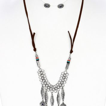 Bohemian Style Chunky Layered Fringe Textured  Aged Finish  Lucite Stone Necklace Earring Set
