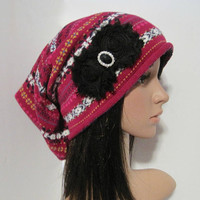 Multi Colored Recycled Sweater Slouch Beanie With Black Chiffon Flowers and Black Rhinestone Accent Winter Hats Sweater Hats Accessories