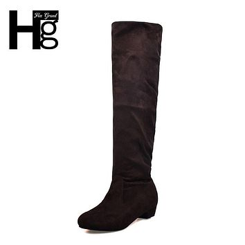HEE GRAND Fashion Women Knee-high Long Boots Slim Showing Med Heel Winter Autumn Shoes Slip-on Leisure Casual Boots XWX500