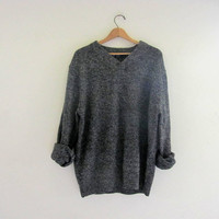 vintage speckled sweater. slouchy sweater. vneck knit sweater. women's size XL
