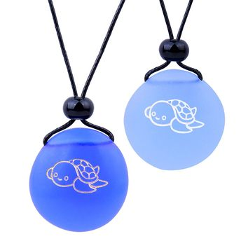 Frosted Sea Glass Stones Adorable Lucky Baby Turtle Love Couples BFF Set Amulets Sky Royal Blue Necklaces