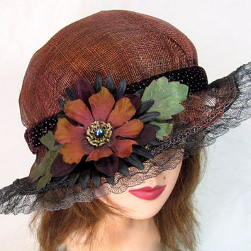 Brown and Black Summer Hat with Antique Horsehair Lace and Reassembled Flower