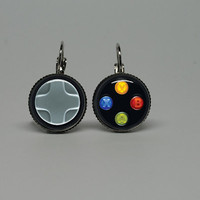 Silver Glass Dangle Drop Earrings with Xbox Controller