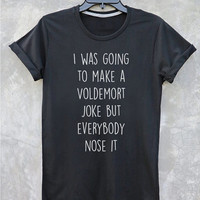 Voldemort Nose Joke Harry Potter Shirt Funny Sayings Short Sleeve Shirt Vintage Style