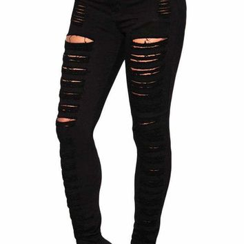 Women's Black Denim Destroyed High-waist Skinny Jeans