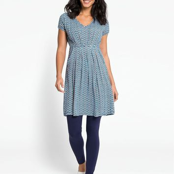 Duck Egg Spot Maternity & Nursing Tunic Dress
