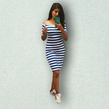 Sexy Women Stripes  Half Sleeve Knee Length  Casual Off the Shoulder Bodycon Pencil  Dress Push Size OBLYQ57 Ukraine
