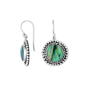 AE-6211-AB Sterling Silver Round Shape Earring With Abalone Shell