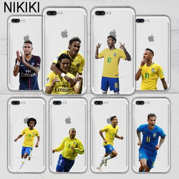 ciciber Brazil Soccer Football Star Neymar William Coutinho Phone Case Cover For iPhone 7 8 6s 6 Plus X 5s 5 SE Soft Silicon