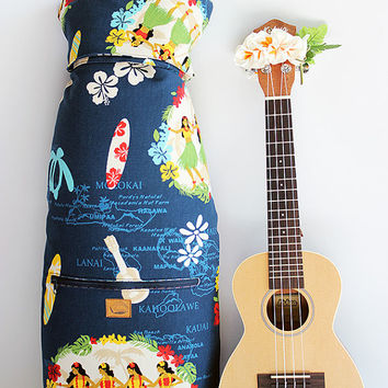 Concert ukulele case / hula girl navy with ribbon lei / ukulele soft case / hawaiian fabric / tropical / surfboard / instrument case