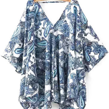 Blue V-Neckline Paisley Printed Top