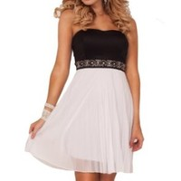 Strapless Empire Color Contrast Crystal Beads Accordion Pleats Party Short Dress