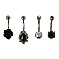 Steel Black Rose Filigree Navel Barbell 4 Pack