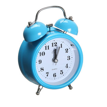 Hot Sale 8 x 4.5 x 12cm Portable Fashion Classic Silent Double Bell Alarm Clock Quartz Movement Bedside Night Light
