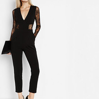 black lace back and sleeve jumpsuit