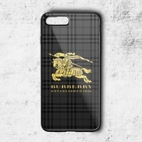 Luxury Burberry.18 Gold Logo Phone Case For iPhone 6 6+ 6s 6s+ 7 7+ 8 8+ X Cover