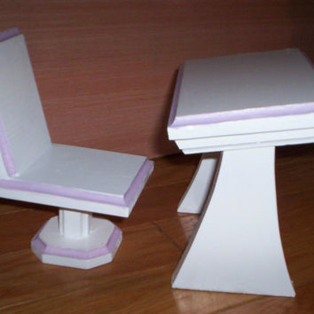 Doll  desk and chair Handcrafted for American Girl 18 inch doll white with purple trim