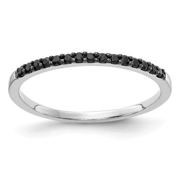 14k White Gold Black Diamond Anniversary Band Ring