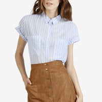 Faux Suede Button Down Skirt - Tan