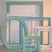 7 Beach Themed Picture Frames Robins Egg Blue Sea Foam Green