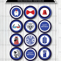 Printable Cupcake Toppers, Dr Who, Tardis, Bow Tie, Darlek, Gallifrey Birthday, Fez, Angel, Blue Box, Decorations, DIY,  INSTANT DOWNLOAD