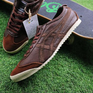 Sale Asics Onitsuka Tiger Sheepskin Shoes Dark Brown Sneaker