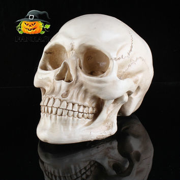 Resin White Head Skull Halloween Props Small Human Skull Replica Haunted House Room Escape Horrible Supplies