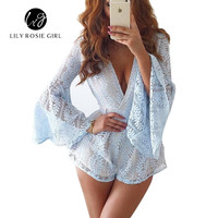See Though Back  Autumn Winter Style Elegant Hollow Out Women Playsuits Lace Long Sleeve Sexy Party Jumpsuits Short Rompers