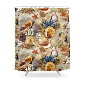 Society6 Fancy Seashells And Starfish Shower Curtain