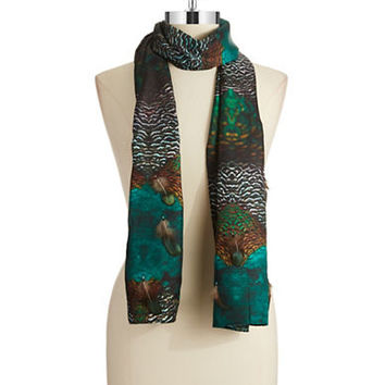 Echo Exotic Plumage Silk Scarf With Feathers