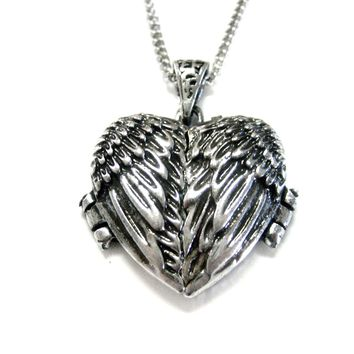 Winged Heart Locket Pendant Necklace