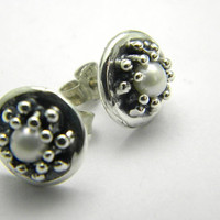Sterling silver stud pearl earrings - post earrings - wedding white pearl -handmade oxidized jewelry,granulation ,Christmas Sale 10% off