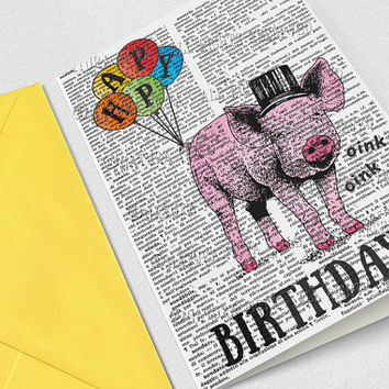 Pig birthday card-motivational card-funny pig card-Invitation-animal card-funny card-friendship card-quote card-by NATURA PICTA NPGC094