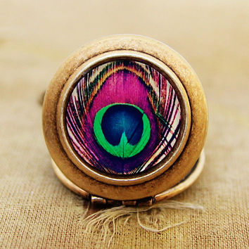 PRE ORDER - Bohemian - Photo Locket Necklace - Colorful Peacock Feather