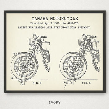 Yamaha Motorcycle Poster Printable, Front Fork Assembly Patent Print, Boys Room Decor, Motorcycle Wall Art, Vintage Motorcycle Blueprint Art