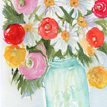 Original Ranunculus and Daisies  in Blue Ball by SharonFosterArt