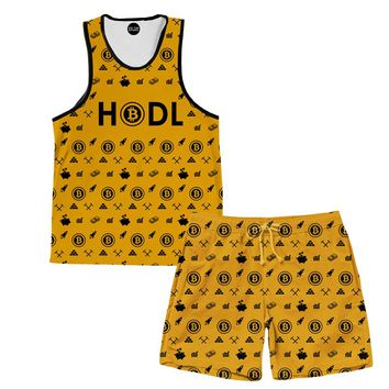 Bitcoin HODL Yellow Tank And Shorts Rave Outfit