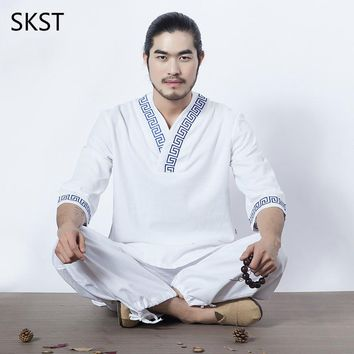 Chinese Tradition Men Yoga Suit Loose Trousers Tops Set Tai Chi Clothing Cotton Linen Outdoor Clothes Zen Meditation Clothing