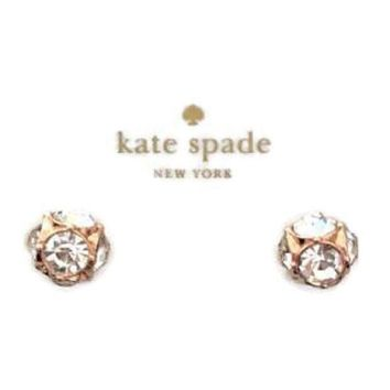 Kate Spade rose gold studded crystal earrings F