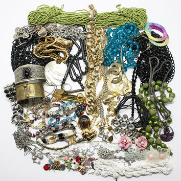 Vintage Lot Jewelry Pieces Necklaces Cuff Bracelets Chains Earrings Beads for Crafts Supply Wearing
