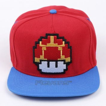 Trendy Winter Jacket Fashion Super Mario Bros Brand Flat Sun Hat Mushroom / Mario Cosplay Baseball Caps Hip Hop Snapback for Men/Boy AT_92_12