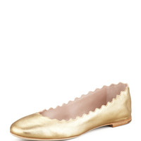 Scalloped Metallic Leather Ballerina Flat - Chloe