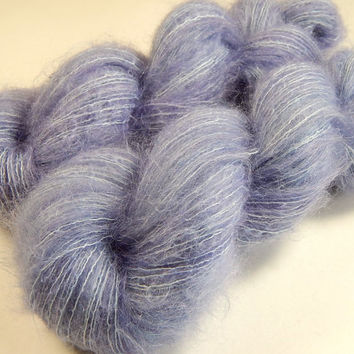 Hand Dyed Yarn - Superfine Kid Mohair / Silk Yarn (Lightweight) - Delphinium - Limited Edition - Knitting Yarn, Mohair Yarn, Periwinkle Blue