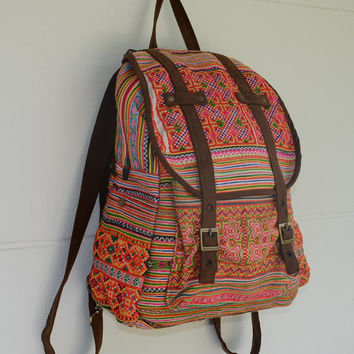 3c7ea1572 SPECIAL PRICE Orange Backpack Book Bag Handmade HMONG Vintage Fa