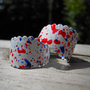 80s Small Hoop Earrings Red White Blue Paint Splatter Enamel Patriotic Vintage Abstract Vibrant Texture Retro Costume Jewelry 1980s Fashion